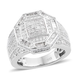 1 Carat Diamond Cluster Ring in Platinum Plated Sterling Silver 7.67 Grams