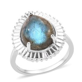 Labradorite (Pear), Natural Cambodian Zircon Ring in Sterling Silver 4.75 Ct.