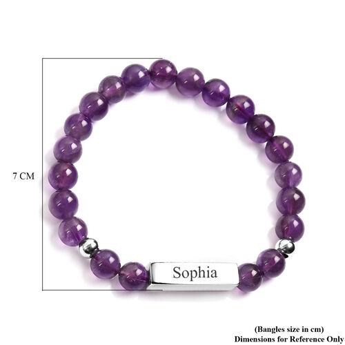 Engravable Bar Amethyst Beads Bracelet Size 7-7.5Inch