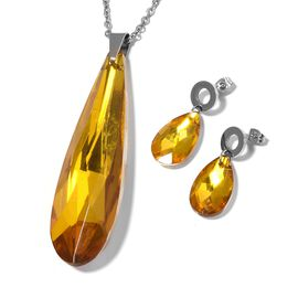 2 Piece Set Simulated Citrine Drop Pendant with Chain and Earrings in Stainless Steel 20 Inch