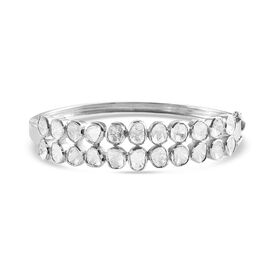 Artisan Crafted Polki Diamond Bangle (Size 7.5) in Sterling Silver 4.00 Ct, Silver wt 20.80 Gms