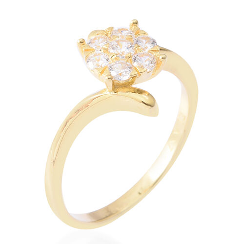ELANZA Simulated Diamond (Rnd) Ring in Yellow Gold Overlay Sterling Silver