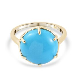 9K Yellow Gold Arizona Sleeping Beauty Turquoise Solitaire Ring 6.32 Ct.