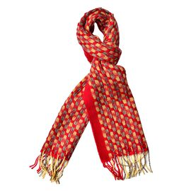 Close Out Deal-90% Wool Red, Yellow and Multi Colour Checker Pattern Scarf with Tassels (Size 180X30 Cm)
