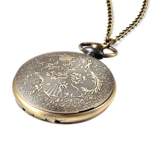 STRADA Japanese Movement Horse Pattern Pocket Watch with Chain (Size 31) in Antique Bronze Plated