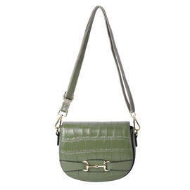 Close Out Deal- 100% Genuine Leather Crossbody Bag with Detachable Strap (Size 17x7x21cm) - Olive Gr