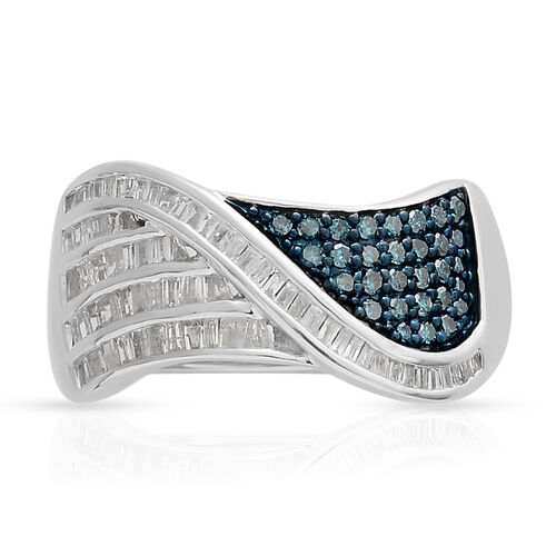 Blue and White Diamond (Rnd and Bgt), Ring in Blue and Platinum Overlay Sterling Silver 0.500 Ct.