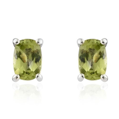 Hebei Peridot (Cush) Stud Earrings (with Push Back) in Platinum Overlay Sterling Silver 1.000 Ct.