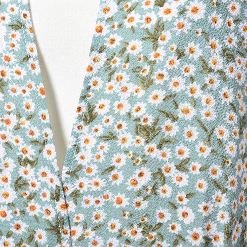 Wild Daisy Midi Wrap Dress; 100% Polyester Fabric - Size S/M  - Light Blue/White/Green/Yellow
