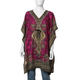 Pink Colour Tribal Printed V- neck Kaftan (One Size; 91.44x104.14 Cm)