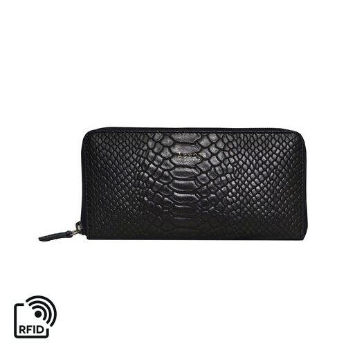 Assots London HAZEL Python Embossed Genuine Leather RFID Zip Around Purse (Size 20x2x10 Cm) - Black