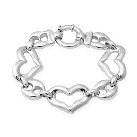 Designer Inspired- Rhodium Overlay Sterling Silver Heart Link Bracelet (Size 8.25), Silver wt 23.03