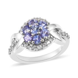 Tanzanite and Cambodian Zircon Floral Ring in Platinum Plated Sterling Silver 1.25 Ct