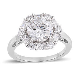 Made with Swarovski Zirconia Halo Ring in Platinum Plated Sterling Silver