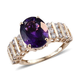 9K Yellow Gold Extremely Rare AAA Moroccan Amethyst (Ovl 3.30 Ct), Natural Cambodian Zircon Ring 4.5