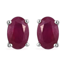 RHAPSODY 950 Platinum AAAA Burmese Ruby Stud Earrings (with Screw Back) 1.10 Ct.