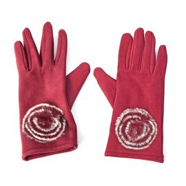 Solid Colour Women Winter Gloves with Rose Shaped Faux Fur on the Wrist (Size 8.9x22.9 Cm) - Wine