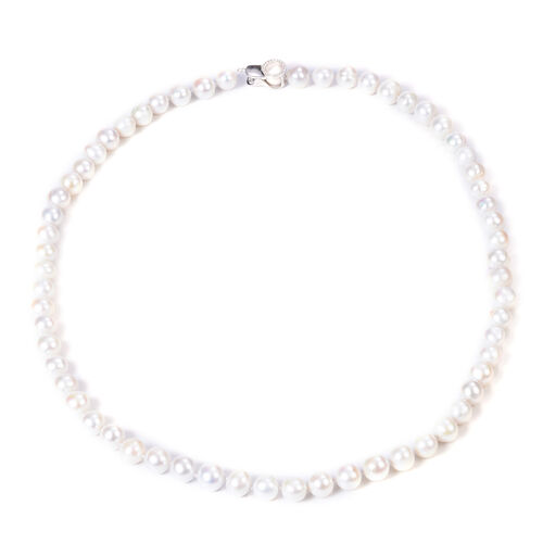 Designer Inspired- Freshwater White Pearl and Natural Cambodian Zircon Adjustable Necklace (Size 18-
