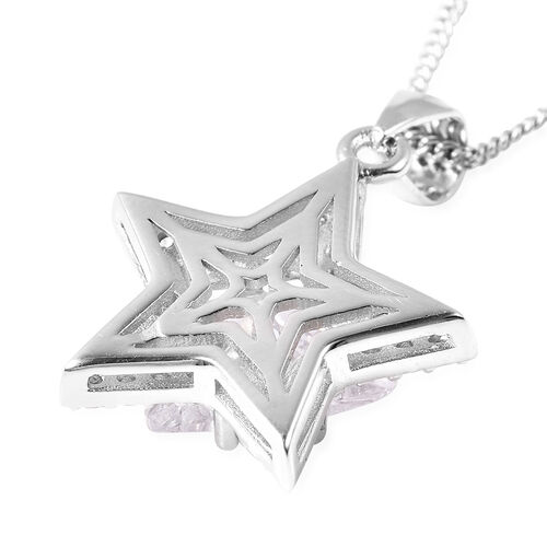 ELANZA Simulated Diamond Star Pendant With Chain (Size 18) in Platinum Overlay Sterling Silver