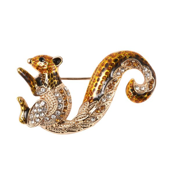 Multi Colour Crystal Enamelled Squirrel Brooch in Gold Tone