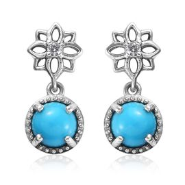 1.54 Ct Arizona Sleeping Beauty Turquoise and Zircon Floral Drop Earrings in Platinum Plated Silver