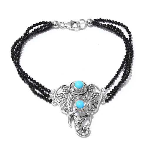 Limited Edition- Designer Inspired- Arizona Sleeping Beauty Turquoise (Rnd), Boi Ploi Black Spinel Elephant Bracelet (Size 7.5) in Sterling Silver 22.140 Ct., Silver wt 6.91 Gms.