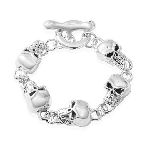 Rhodium Overlay Sterling Silver Skull Bracelet (Size 8), Silver wt 16.50 Gms.