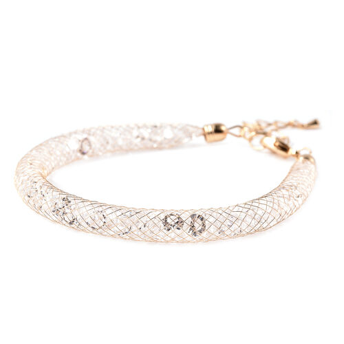 2 Piece Set - White Austrian Crystal Necklace (Size 18 with 4 inch Extender) and Bracelet (Size 8 with 2 inch Extender) in Yellow Gold Tone