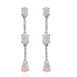 Ethiopian Welo Opal (Ovl and Pear), Natural Cambodian White Zircon Earrings in Sterling Silver 2.490 Ct.