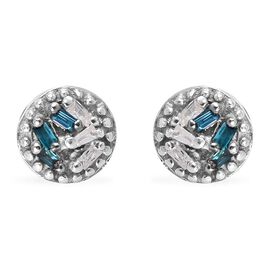Blue and White Diamond Stud Earrings in Sterling Silver
