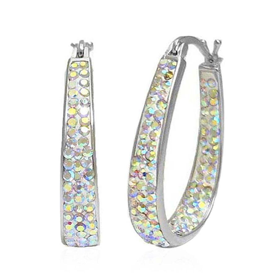 3913cd037 AAA Rainbow Colour Austrian Crystal Hoop Earrings (with Clasp) in Silver  Bond