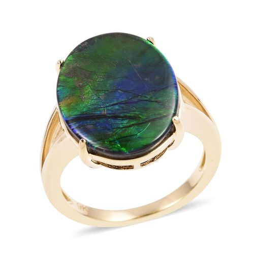 9K Yellow Gold AA Canadian Ammolite (Ovl 20x15 mm) Ring 8.000 Ct, Gold wt 4.53 Gms.