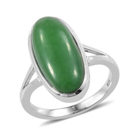 6.5 Ct Green Jade Solitaire Ring in Platinum Plated Sterling Silver
