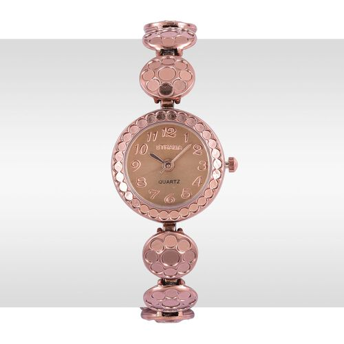 STRADA Japanese Movement Golden Dial Water Resistant Watch in Rose Gold Tone with Stainless Steel Back and Chain Strap
