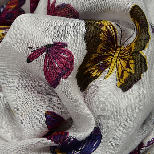Yellow, Red and White Colour Butterfly Pattern Scarf (Size 180x70 Cm)