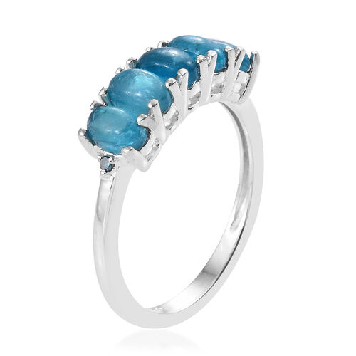 Malgache Neon Apatite (Ovl), Blue Diamond Ring in Sterling Silver 1.50 Ct.