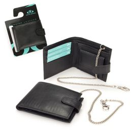 Close Out Deal 100% Genuine Leather Mens Wallet (Size 9x12 mm) with Chain