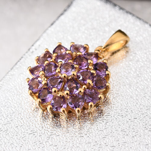 Amethyst 2.25 Ct Heart Floral and Cluster Silver Pendant in 14K Gold Overlay
