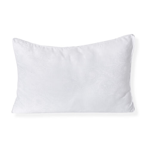 Serenity Night - Set of 2 - Mulberry Silk and Faux Down Pillows with 5 cm Gusset and Jacquard Cover (Size 48x74 Cm) - White