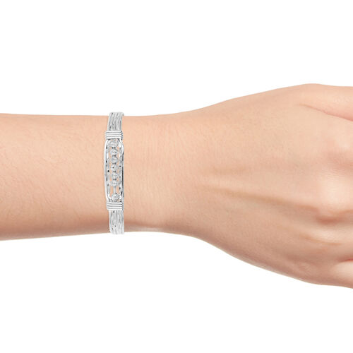 Designer Inspired- Diamond Cut Sterling Silver Cuff Bangle (Size 8), Silver wt 18.60 Gms.