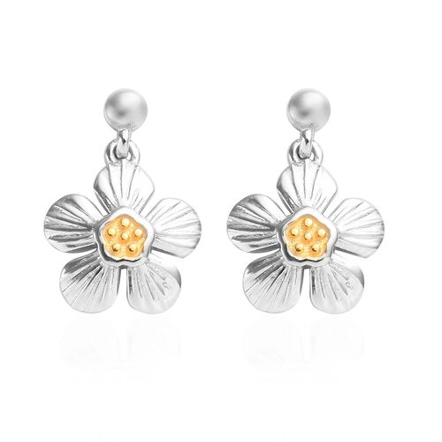 Platinum and Yellow Gold Overlay Sterling Silver Floral Earrings (with Push Back)