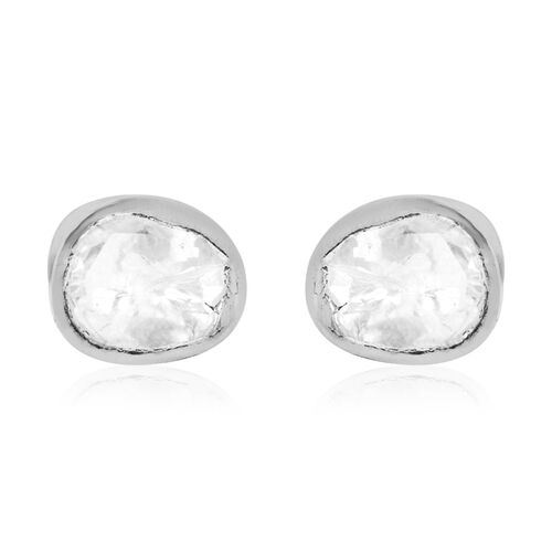 Close Out Deal Polki Diamond Stud Earrings (with Push Back) in Platinum Overlay Sterling Silver 0.50