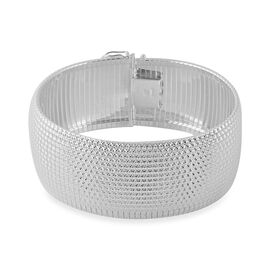 Italian Made Cleopatra Bracelet in Rhodium Plated Silver 37.33 grams 8 Inch
