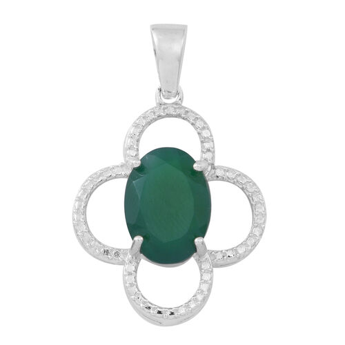 Verde Onyx (Ovl) Solitaire Pendant in Sterling Silver 5.000 Ct.