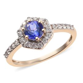 9K Yellow Gold Tanzanite and Natural Cambodian Zircon Ring 1.00 Ct.