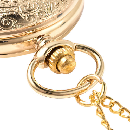 GENOA Automatic Mechanical Flower Pattern Pocket Watch with Chain in Gold Tone