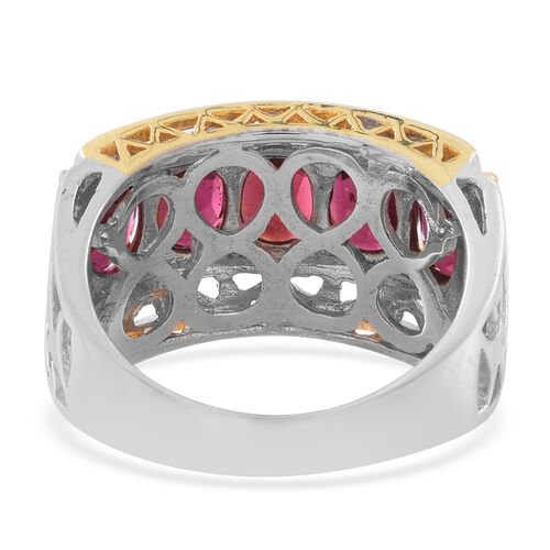 Rhodolite Garnet (Ovl) 5 Stone Ring in Rhodium and Yellow Gold Overlay Sterling Silver 4.500 Ct, Silver wt. 6.70 Gms.