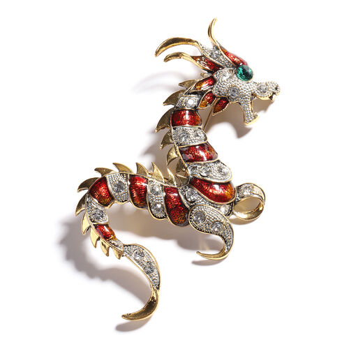 Green and White Austrian Crystal Enamelled Dragon Brooch - 4in