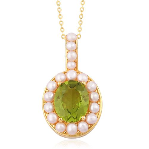 Super Auction- Designer Inspired AAA Rare Size Peridot (Ovl 4.00 Ct), Fresh Water Pearl Pendant with Chain in Yellow Gold Overlay Sterling Silver 6.150 Ct.