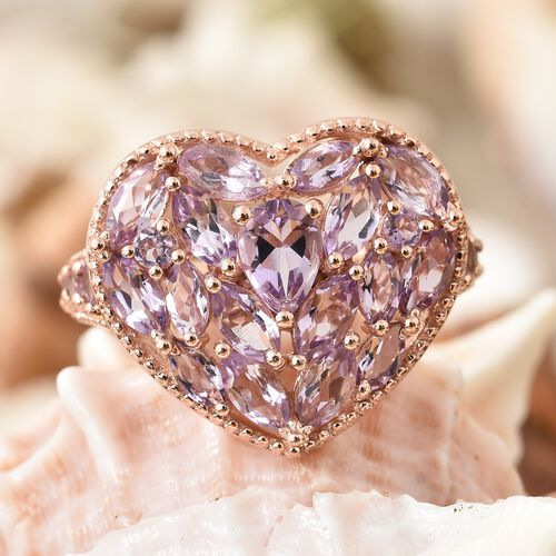 Rose De France Amethyst (Pear, Mrq and Rnd) Heart Cluster Ring in Rose Gold Overlay Sterling Silver 4.250 Ct. Silver wt 6.48 Gms.